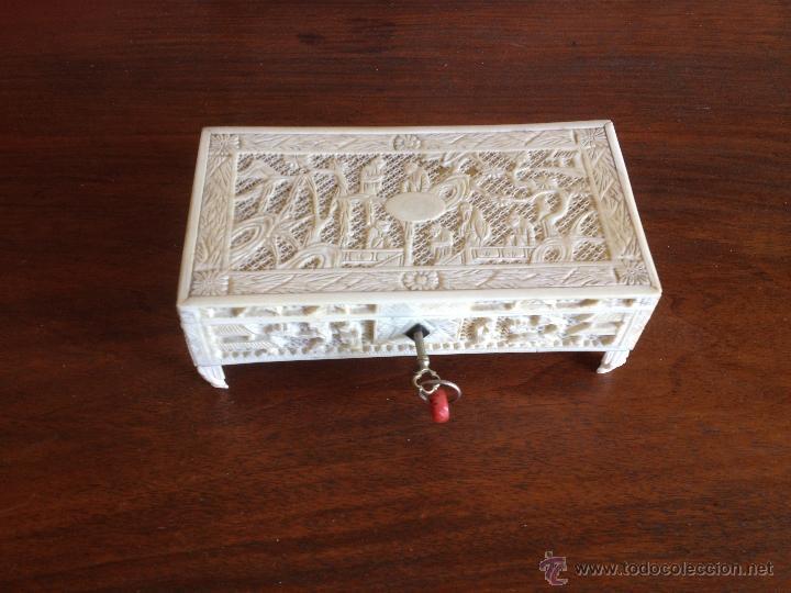 Credenza Con Llave : Caja china marfil cantón 1850 kaufen antike dosen und kisten in
