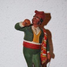 Antigüedades: FIGURA DE BARRO O TERRACOTA - HOMBRE CON PORRÓN - BUXÓ - OLOT. Lote 50822252