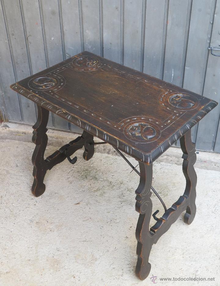 Antigua y bonita mesa castellana patas de lira comprar - Mesas antiguas ...