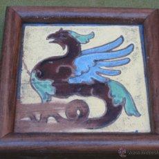 Antigüedades: AZULEJO ANTIGUO DE SEVILLA / TRIANA - GRIFO ALADO.. Lote 50921954