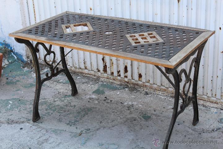 Mesa de jardin en hierro fundido y madera comprar mesas - Mesas de hierro para jardin ...