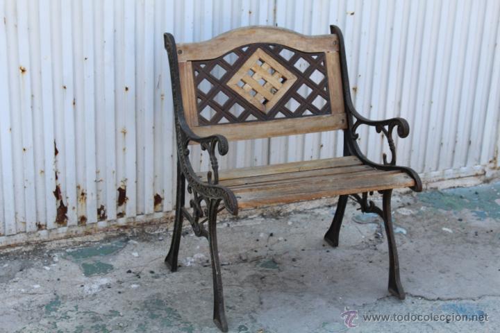 Sillon de jardin en hierro fundido y madera comprar for Sillon jardin madera