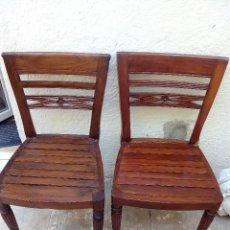 Antigüedades: 2 SILLAS DE MADERA MACIZA.. Lote 50950848