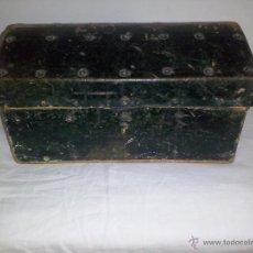 Antigüedades: ANTIGUO COFRE DE MADERA Y FORRADO EN PIEL. Lote 50956892