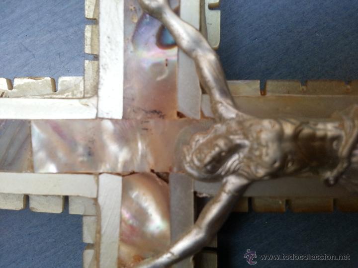 Antigüedades: antigua gran cruz pectoral crucifijo de mano cristo parroquial ... semana santa - Foto 2 - 50957363
