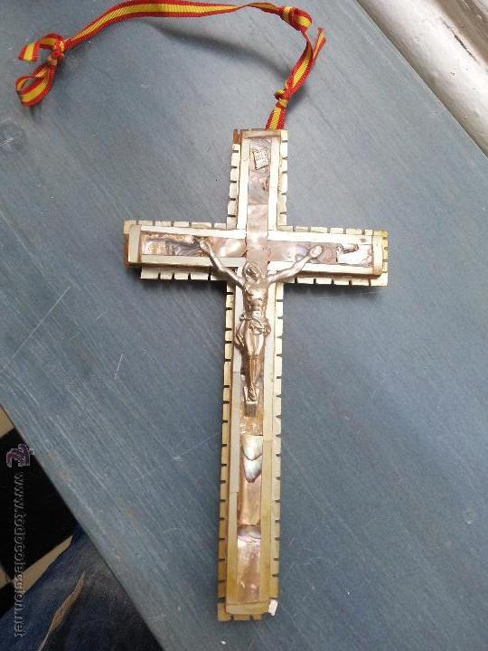 Antigüedades: antigua gran cruz pectoral crucifijo de mano cristo parroquial ... semana santa - Foto 3 - 50957363