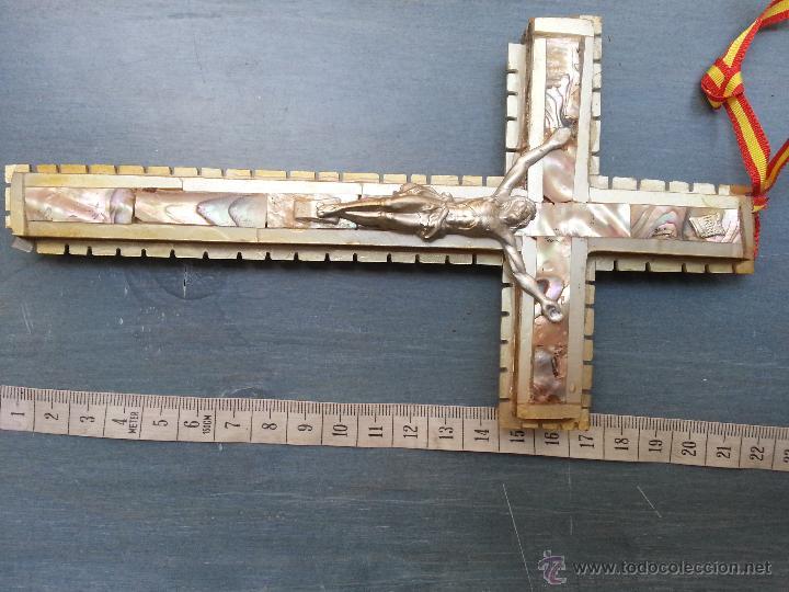 Antigüedades: antigua gran cruz pectoral crucifijo de mano cristo parroquial ... semana santa - Foto 4 - 50957363
