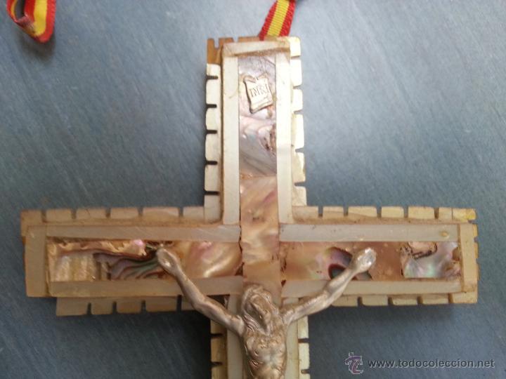 Antigüedades: antigua gran cruz pectoral crucifijo de mano cristo parroquial ... semana santa - Foto 8 - 50957363