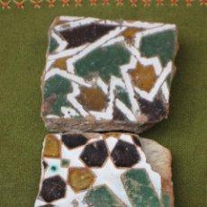 Antigüedades: LOTE DE DOS FRAGMENTOS DE AZULEJOS ANTIGUOS DE TOLEDO- ARISTA- ARABE/MUDEJAR - S/XVI. AZULEJO.. Lote 50970004
