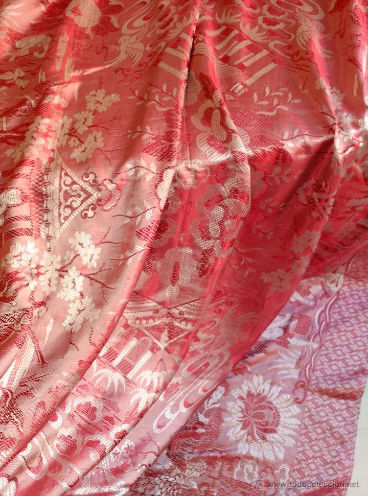 Antigüedades: Colcha antigua tipo sedalina chinesca - Foto 7 - 50980129