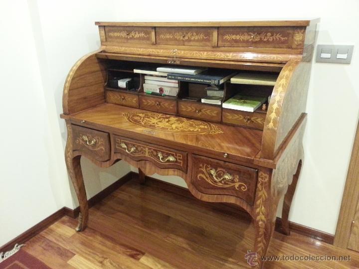 antigedades precioso escritorio bur de marquetera floral estilo luis xv foto