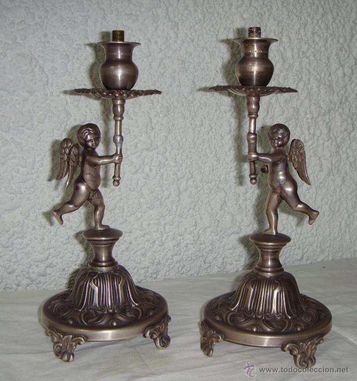 Antigüedades: Pareja de Candeleros o Candelabros Antiguos. Plata Maciza .925 mls. Joyería Mexia, Cadiz - Foto 2 - 51594760