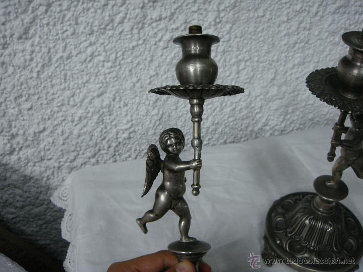Antigüedades: Pareja de Candeleros o Candelabros Antiguos. Plata Maciza .925 mls. Joyería Mexia, Cadiz - Foto 3 - 51594760