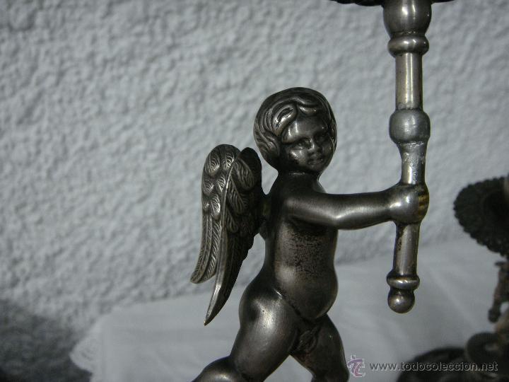 Antigüedades: Pareja de Candeleros o Candelabros Antiguos. Plata Maciza .925 mls. Joyería Mexia, Cadiz - Foto 6 - 51594760