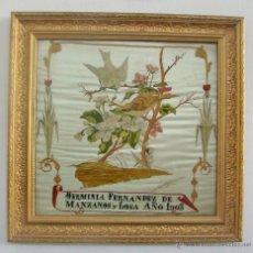 Antigüedades: ANTIGUO CUADRO BORDADO EN SEDA DEL AÑO 1903. Lote 51018870
