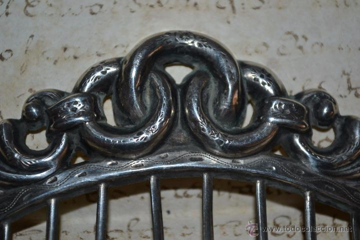 Antigüedades: PRECIOSA PEINA,PEINETA EN PLATA CINCELADA Y CONTRASTADA, DEL S. XIX - Foto 6 - 51033825