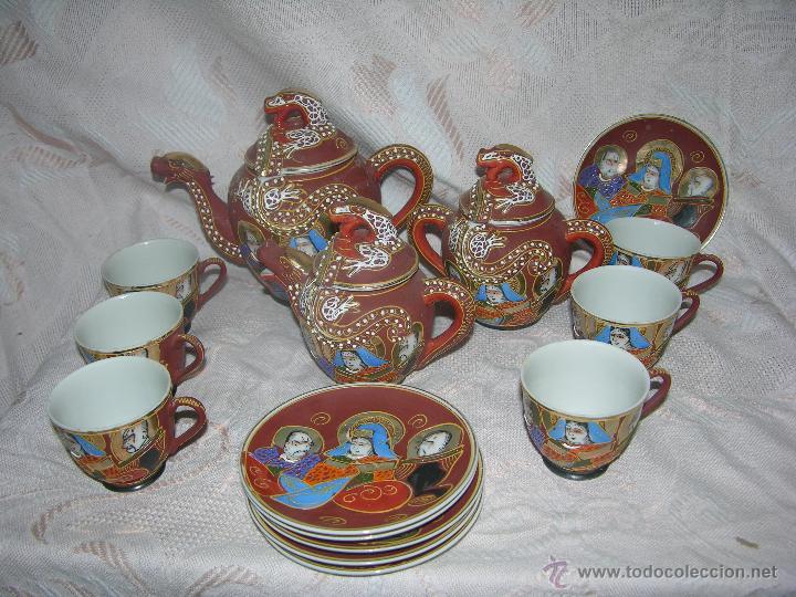 ESQUISITO JUEGO DE CAFÉ JAPONES DE CERÁMICA TODO EL REPUSADO MARCA EIHO (Antigüedades - Porcelana y Cerámica - Japón)