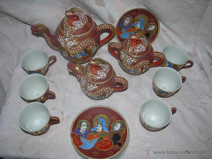 Antigüedades: ESQUISITO JUEGO DE CAFÉ JAPONES DE CERÁMICA TODO EL REPUSADO MARCA EIHO - Foto 2 - 51044993