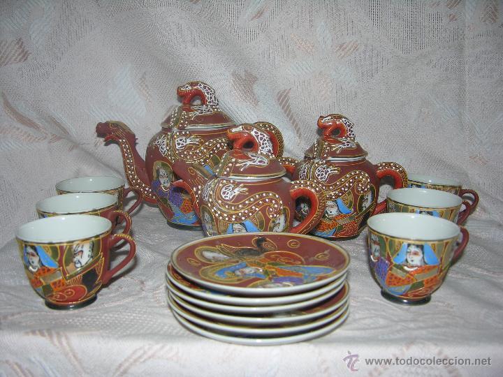 Antigüedades: ESQUISITO JUEGO DE CAFÉ JAPONES DE CERÁMICA TODO EL REPUSADO MARCA EIHO - Foto 3 - 51044993