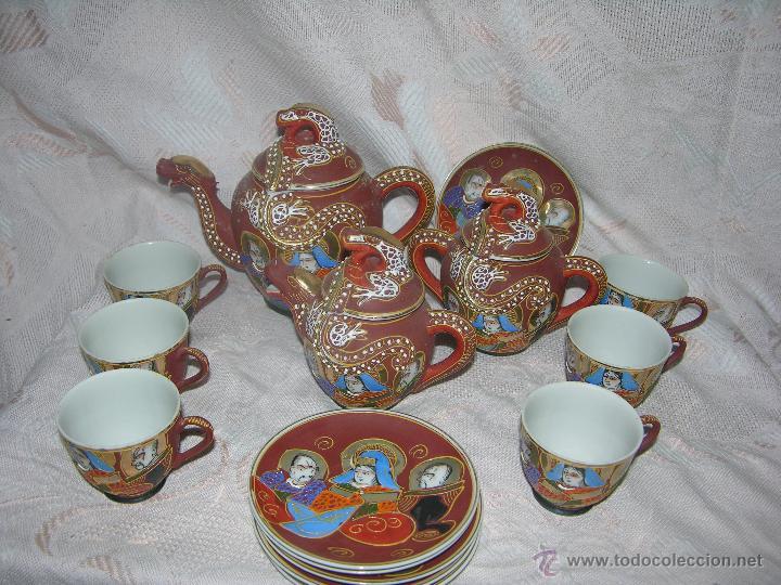 Antigüedades: ESQUISITO JUEGO DE CAFÉ JAPONES DE CERÁMICA TODO EL REPUSADO MARCA EIHO - Foto 4 - 51044993