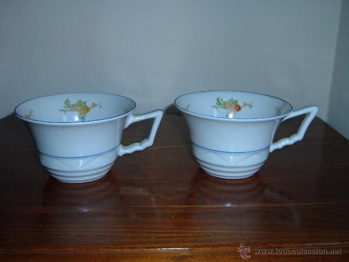 PAREJA DE TAZAS FILO AZUL (Antigüedades - Porcelanas y Cerámicas - Otras)