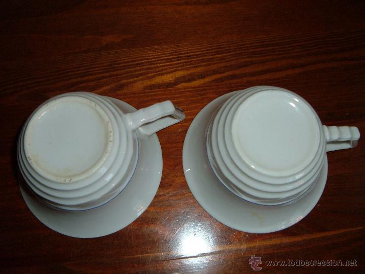 Antigüedades: Pareja de tazas filo azul - Foto 3 - 51046728