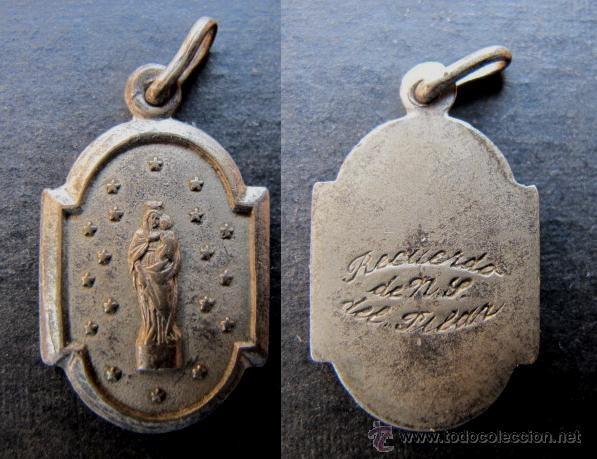 MEDALLA RELIGIOSA ANTIGUA VIRGEN DEL PILAR PLATA (Antigüedades - Religiosas - Medallas Antiguas)