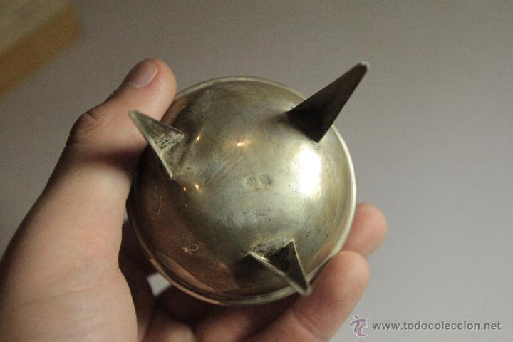 Antigüedades: Pequeño recipiente con patas y asa, en plata de ley, 8cm sin contar el asa - Foto 4 - 51054111
