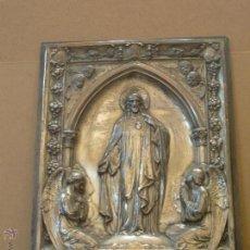 Antigüedades: SAGRADO CORAZÓN-RELIEVE EN PLACA DE METAL QUE PUEDE SER PLATA O ALPACA. Lote 42063738