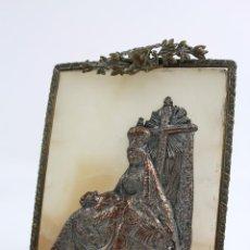 Antigüedades: VIRGEN DE LA PIEDAD EN BRONCE ENMARCADA SOBRE ALABASTRO. SIGLO XIX. Lote 51060250