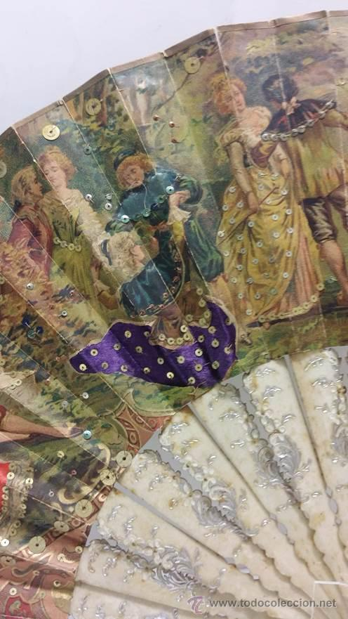 Antigüedades: ANTIGUO ABANICO TALLADO EN HUESO PAIS DE PAPEL BORDADO EN SEDA EN RELIEVE - SIGLO XIX - Foto 4 - 51066599