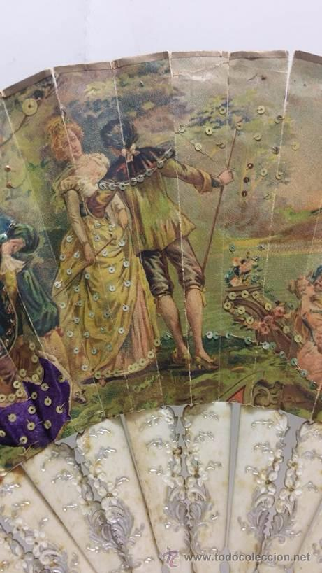 Antigüedades: ANTIGUO ABANICO TALLADO EN HUESO PAIS DE PAPEL BORDADO EN SEDA EN RELIEVE - SIGLO XIX - Foto 6 - 51066599