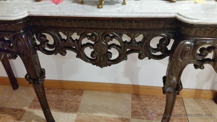 Antigüedades: GRAN CONSOLA TALLADA CON MÁRMOL - Foto 4 - 51070769
