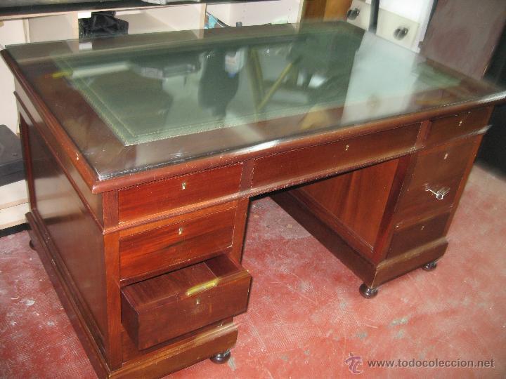 Mesa de despacho madera cuero verde y cristal a comprar for Cristal mesa a medida