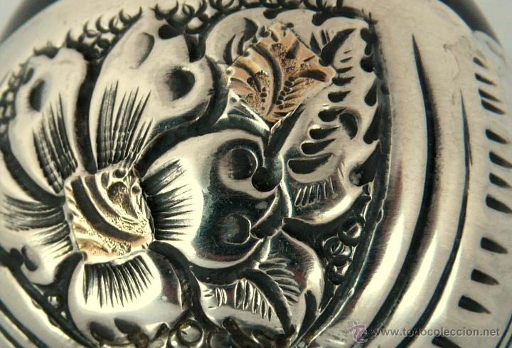 Antigüedades: ANTIGUO MATE ARGENTINO EN PLATA 800 Y APLICACIONES DE ORO DE 18 QUILATES - Foto 10 - 51085924