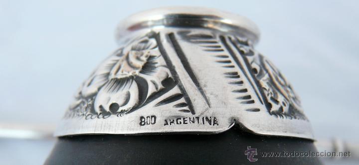 Antigüedades: ANTIGUO MATE ARGENTINO EN PLATA 800 Y APLICACIONES DE ORO DE 18 QUILATES - Foto 12 - 51085924