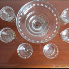 Antigüedades: ESQUISITA PONCHERA DE CRISTAL CON JUEGO DE 6 COPAS VEAN FOTOGRAFIAS. Lote 51089678