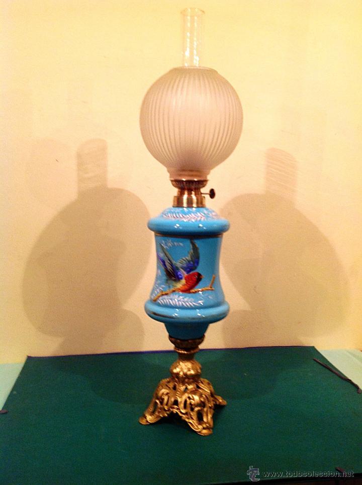 Antigüedades: Antigua Lámpara Quinqué Opalina Original De Época Principio Del S.XIX Medidas 72X20CM - Foto 2 - 51145398
