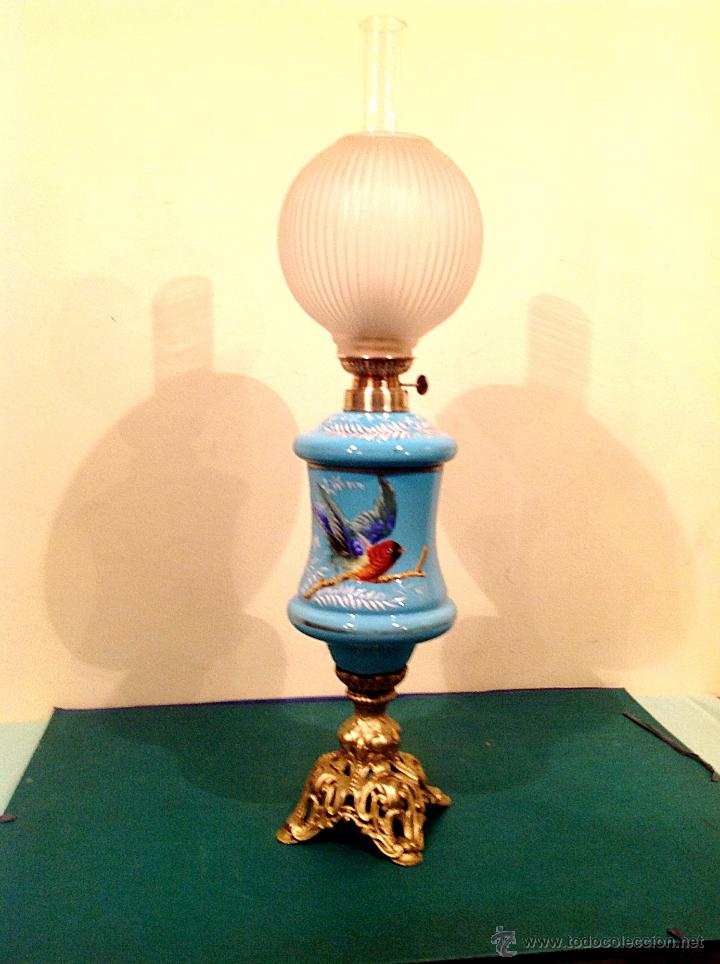 Antigüedades: Antigua Lámpara Quinqué Opalina Original De Época Principio Del S.XIX Medidas 72X20CM - Foto 3 - 51145398