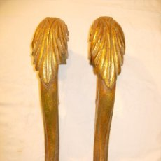 Antigüedades: 2 SOPORTES O PATAS PARA MENSULAS O CONSOLAS ANTIGUAS, MADERA POLICROMIA Y ORO. Lote 51159272