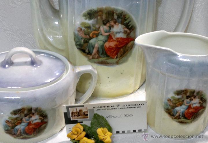 Antigüedades: ANTIGUO Y COMPLETO JUEGO DE CAFÉ, DOCE SERVICIOS, EN PORCELANA. - Foto 7 - 51162324