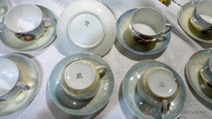 Antigüedades: ANTIGUO Y COMPLETO JUEGO DE CAFÉ, DOCE SERVICIOS, EN PORCELANA. - Foto 15 - 51162324