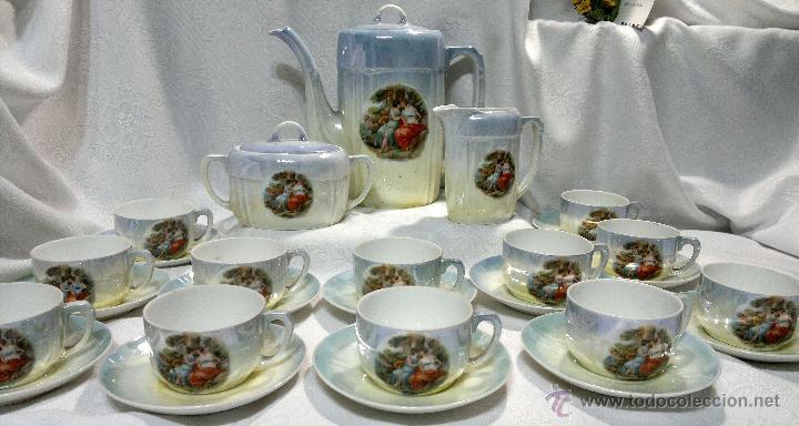 Antigüedades: ANTIGUO Y COMPLETO JUEGO DE CAFÉ, DOCE SERVICIOS, EN PORCELANA. - Foto 19 - 51162324