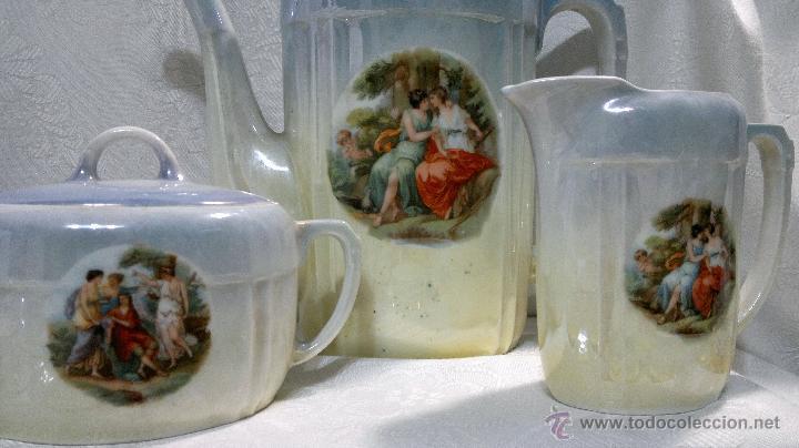Antigüedades: ANTIGUO Y COMPLETO JUEGO DE CAFÉ, DOCE SERVICIOS, EN PORCELANA. - Foto 20 - 51162324