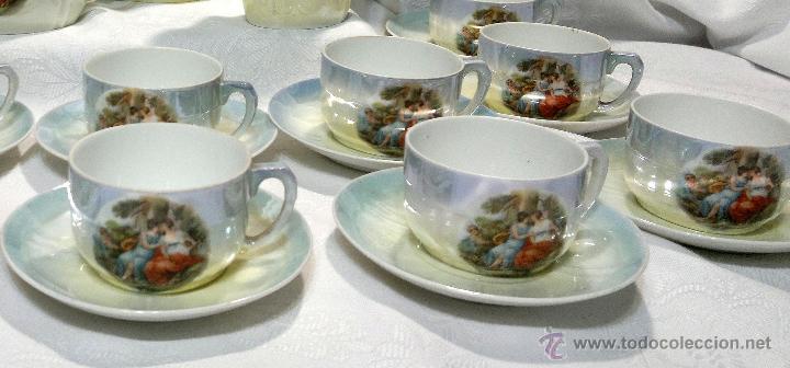 Antigüedades: ANTIGUO Y COMPLETO JUEGO DE CAFÉ, DOCE SERVICIOS, EN PORCELANA. - Foto 27 - 51162324