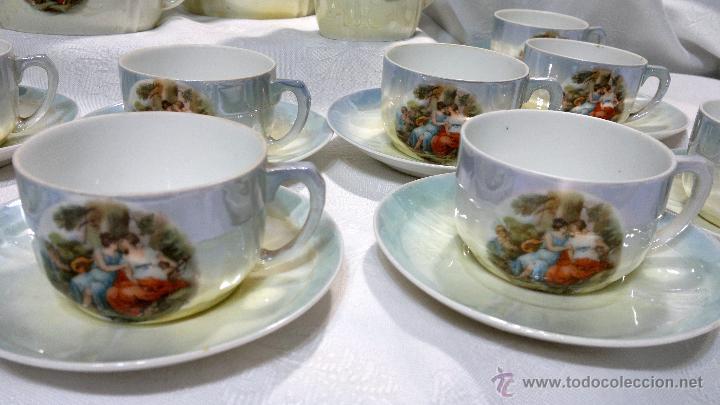 Antigüedades: ANTIGUO Y COMPLETO JUEGO DE CAFÉ, DOCE SERVICIOS, EN PORCELANA. - Foto 28 - 51162324
