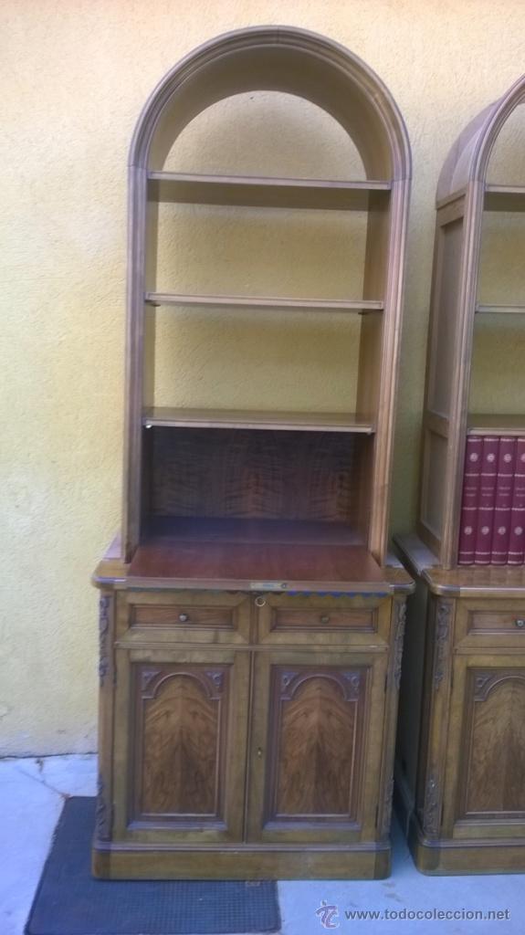 Antigüedades: PAREJA DE LIBRERÍAS/ ESCRITORIO, MADERA Y PIEL - Foto 4 - 51179113