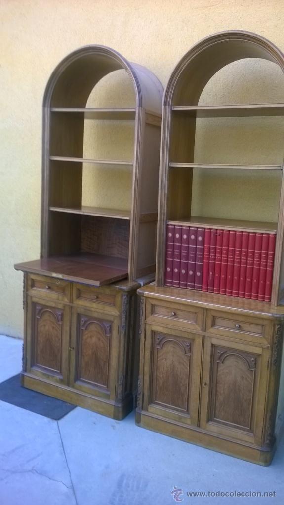 Antigüedades: PAREJA DE LIBRERÍAS/ ESCRITORIO, MADERA Y PIEL - Foto 5 - 51179113
