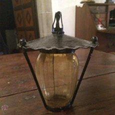 Antigüedades: LAMPARA FAROLILLO / FAROL DE CRISTAL AMARILLO PARA GNOMO DE JARDÍN, PEQUEÑO . Lote 51179390