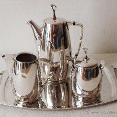 Antigüedades: JUEGO DE CAFE CON BANDEJA DE PLATA DE LEY CONTRASTADA. 684 GRAMOS. VER FOTOS Y DESCRIPCION.. Lote 51195899